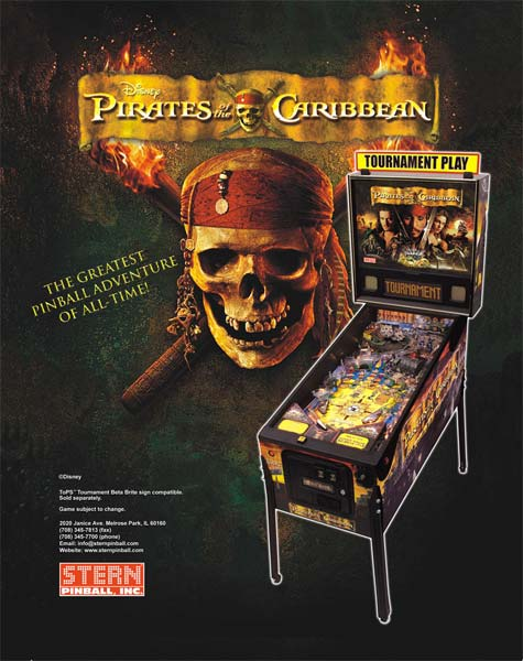 Pirates of the Caribbean pinball machine for sale